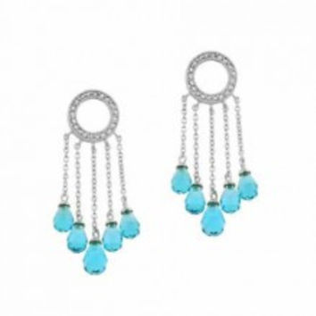 Sterling Silver simulated Diamond and Aquamarine cz Briolette Cut Chain Eternity Chandelier Earrings