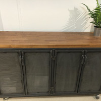 The Edwin Industrial Office Credenza/ Media console/ kitchen island - Modern Industrial Office Design