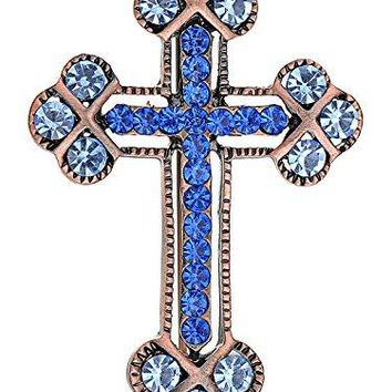 Alilang Copper Tone Sapphire Blue Colored Rhinestones Holy Cross Brooch Pin