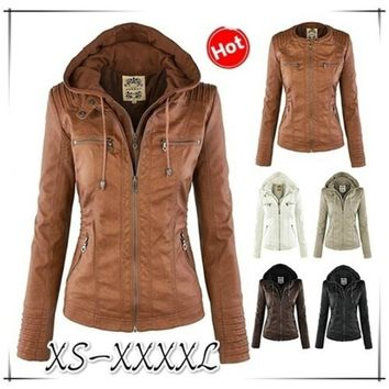Plus Size S-5XL New Stunning Women's Stylish Slim Removable Hooded Leather Jackets