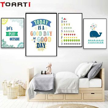 Good Day Color Number Cartoon Wall Art Prints For Kids Nursery Bedroom Canvas Painting Wall Poster Modern Picture For Home Decor