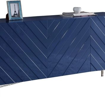 Collette Buffet Chrome / Navy Blue Lacquer