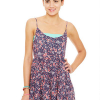Babydoll Dress in Navy Floral - Navy Multi