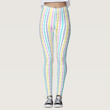 Colorful abstract stripes design leggings