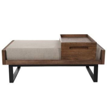Kenneth Cole Reaction Home® Large Linen Ottoman with Tray