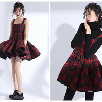 wool dress,winter dress,plaid dress,pleated dress,fit and flare dress,preppy dress,red dress,short dress,vest dress,grunge dress.--E0800