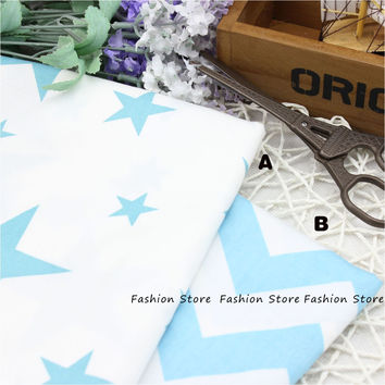 50*40cm Cartoon Blue Stars Chevron Design Cotton Fabric for Baby quilts Pillow Cushion Sewing Fabric Material Patchwork Telas