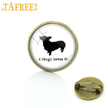 TAFREE 'A corgi loves me' black dog picture brooches pins jewelry supernatural personalized gift for pet lover badge brooch C734