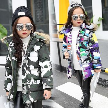 2017 Winter Jackets for kids warm coats Girls Outerwear Fur Collar camouflage Children's Down Jacket Thick Boy Winter Coat Down