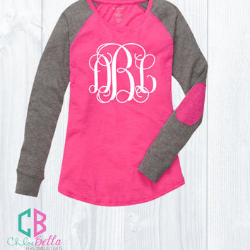 Big Monogram Preppy Patch Long Sleeve Shirts