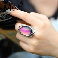 Mojo Vintage Bohemia Retro Color Change Mood Ring Emotion Feeling Changeable Ring Temperature Control Ring for Women MJ-RS033