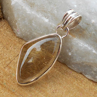 Golden Rutile Pendant - Sterling Silver Pendant, Fine Silver Pendant, Solid Silver Pendant, Bezel Pendant,Top Selling Pendant