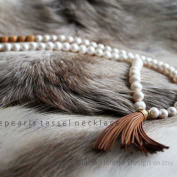 junipearls tassel necklace - long necklace with pearls, juniper and leather Maria Helena Design