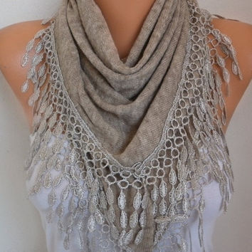 Beige Knitted Scarf Shawl Lace Oversized Bridesmaid Bridal Accessories Gift Ideas For Her Women Fashion Accessories Mother Day Gift