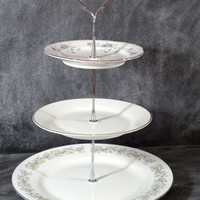 Wedding Plate Stand, 3 Tier China Tea Stand, Triple Tiered Plate Stand, Cake Stand, Tiered Pastry Server, Cookie Plate, Appetizer Server 47