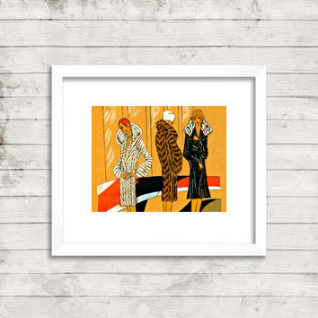 The Great Gatsby art deco Paris flappers print photograph vintage fashion illustration 11 x 14 wall art 1920's boho flappers in furs