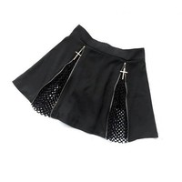 Cross Zipper Mini Skirt