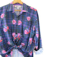 Floral Grunge Blouse Button Up Pocket Shirt Purple and Pink faded worn in Top 80s Cotton Preppy BOHO Vintage Womens Medium Large