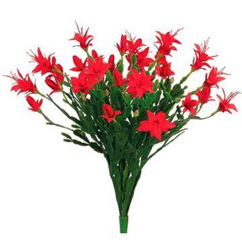 "Plastic Christmas Cactus Bush in Red - 16"" Tall"