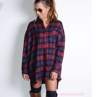 Daydreamer Red Oversized Plaid Flannel
