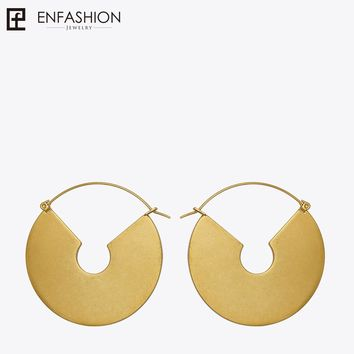 Enfashion Vintage Big Circle Dangle Earrings Matte Gold color Earings Drop Earrings For Women Long Earring Jewelry brinco