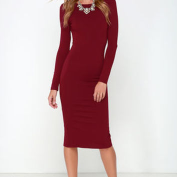 Va Va Voom Wine Red Backless Midi Dress