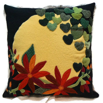 Sunny Hearts and Hot Flowers Applique Felted Wool with Plaid Wool Pillow Backing, Size 14 x 14 Pillow, Applique Pillow, Wool Heart Applique
