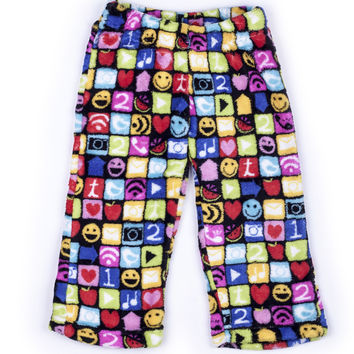 Up Past 8 Emoji Fleece Pajama Pants