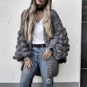 Autumn Coarse Wool Hook Sweater hand knitted Cardigan V-Neck Loose Rough wool Knitted Lantern Sleeved jacket Open Stitch Tops