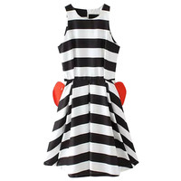 Striped Sleeveless Skater Dress with Red Pockets