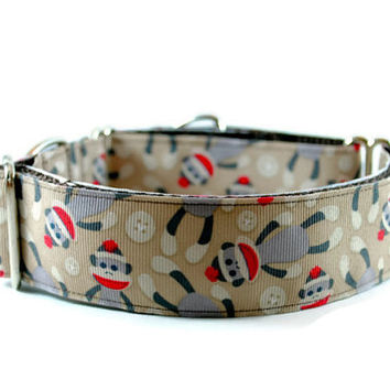 "Monkeys Dog Collar, Martingale 11/2"" Collar for Sighthounds Greyhounds Whippets or Training"