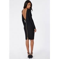 Missguided - Open Back Zip Detail Midi Dress Black