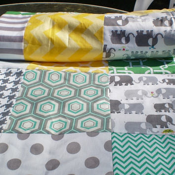 Elephant Baby quilt,grey,green,yellow,chevron,Patchwork crib quilt,baby girl quilt,baby boy bedding,woodland,organic,modern,fleece,newborn