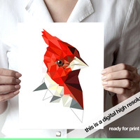 Cardinal bird Art print JPG digital file