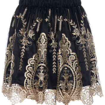 ROMWE | Baroque Embroidered Black Skirt, The Latest Street Fashion
