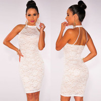 Floral Pattern Lace Cut Out Bodycon Dress