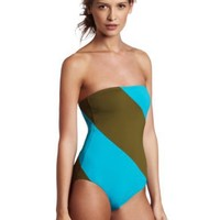 Echo Design Women's Colorblocked Ruched One Piece, Olive, 12