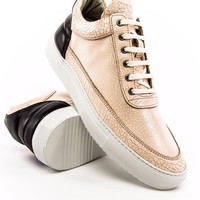 Filling Pieces Low Top Crushed Leather Beige Black Sneaker