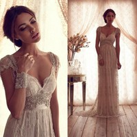 Hot Salling Vestido De Novia  Vintage Wedding Dress Sheer Lace Anna Campbell  Bridal Gown Lace Backless Church Wedding Gown
