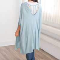 Caged Back Solid Cardigan - Light Blue
