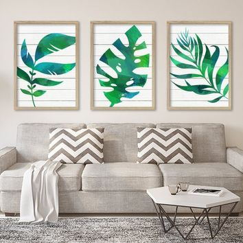 WATERCOLOR Banana Monstera LEAF Wall Art, Watercolor Banana Leaf Living Room Art, Botanical Tropical Artwork, Set of 3 Canvas or Print Decor