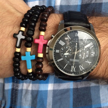 Cross Bracelet, Men's Bracelet, Sideways Cross Bracelet, Wood Beads Bracelet, For Him, Husband Bracelet, Boyfriend Jewelry, Gift Idea