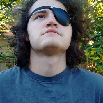 Black Leather Eye Patch, Ready for Shipping! ~Pirate costume adult, pirate accessories, pirate eye patch, pirate outfit, metal gear eyepatch