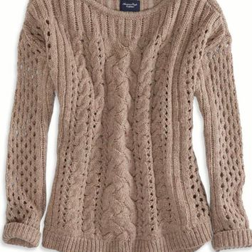 AEO Women's Mixed Knit Donegal Sweater