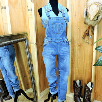 90s Overalls XS / medium wash faded overall skinny jeans / 1990s bib overalls / denim over all jeans