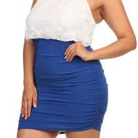 Pearl Collar Lace Bodycon Dress - Blue - Plus Size