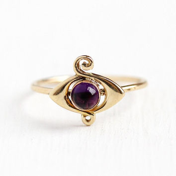 Antique Amethyst Ring - Vintage 14k Rosy Yellow Gold Stick Pin Conversion - Size 3 1/4 Edwardian Purple Gemstone Cabochon Fine Jewelry