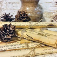 Rolled Up Vintage Book Pages and Small Pine Cones, Tea Stained with Twine, Wedding Decoration, Center Piece Decor, Woodland Cabin Decor