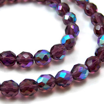 Full strand, Czech Glass beads, 8mm Amethyst Purple Aurora Borealis (166H)