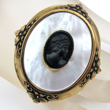 Vintage Mother of Pearl Black Cameo Brooch Pin